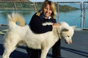 Lt. Cmdr. Maria Martens with Sirius Dog