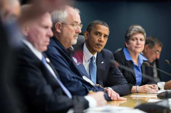 Napolitano, Obama, Fugate listening to LaHood at FEMA HQ meeting 2012-10-31