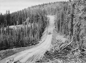 A stretch of the Alcan Highway which connects Edmonton, Canada, with Fairbanks, Alaska, ca. 1942. Library of Congress photo