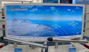 Figure 12: CPMIEC display at Airshow China 2010. The C803 is not even mentioned on the screen with other Chinese anti-ship missiles offered for sale.  Photo courtesy of Christopher P. Carlson
