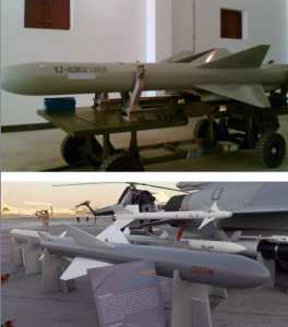 """Figure 11: The YJ-83K is the air launched version of the YJ-83, as denoted by the """"K"""" at the end of the designator. The missile in the photo is a training version without the side cable runs. The export variant is the C802AK as shown next to a Pakistani JF-17 fighter-bomber at the Dubai Air Show in 2011. Photo courtesy of Christopher P. Carlson"""