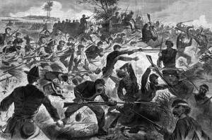 A Harper's Weekly print of a Civil War bayonet charge. Despite the depictions of fierce battles involving bayonets these kind of  fights were relatively rare. Print courtesy of the Boston Public Library