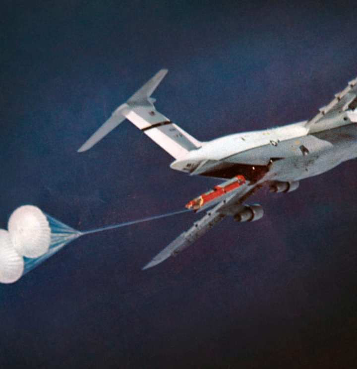 The C-5A Galaxy 69-0014 testing the feasibility of air launching an ICBM. This C-5A will become an exhibit at the Air Mobility Command Museum at Dover Air Force Base, Del. U.S. Air Force photo courtesy of Robert F. Dorr