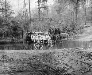 A mule team crossing a brook in Virginia during the Civil War, ca. 1862-1865. Library of Congress photo