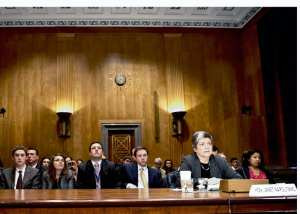 Secretary Janet Napolitano at the witness table at a U.S. Senate hearing by the Homeland Security Committee. Congressional oversight of the Department of Homeland Security has mushroomed over the last 10 years. Department of Homeland Security photo