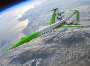 "This future aircraft design concept for supersonic flight over land comes from the team led by the Lockheed Martin Corporation. The team used simulation tools to show it was possible to achieve over-land flight by dramatically lowering the level of sonic booms through the use of an ""inverted-V"" engine-under wing configuration. Other revolutionary technologies help achieve range, payload and environmental goals. This concept was one of two designs presented in April 2010 to the NASA Aeronautics Research Mission Directorate for its NASA Research Announcement-funded studies into advanced supersonic cruise aircraft that could enter service in the 2030-2035 timeframe. NASA/Lockheed Martin Corporation rendering"