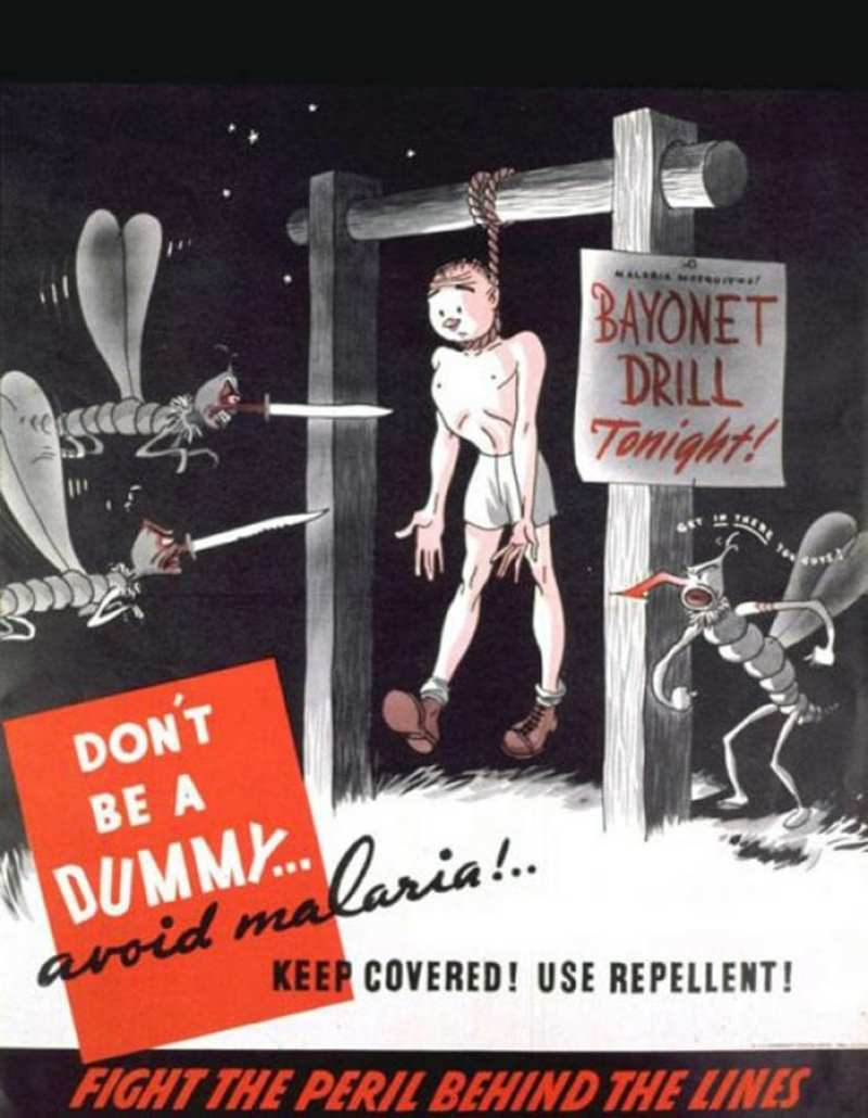 This poster prodded soldiers to keep their skin covered and use bug repellent. U.S. National Library of Medicine photo