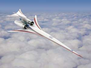 This concept of an aircraft that could fly at supersonic speeds over land is being used by researchers, especially at NASA's Langley Research Center, to continue to test ideas on ways to reduce the level of sonic booms. Its technologies – the F-100-like propulsion system, a tail blister, and the overall shape – are combined to achieve a lower target perceived decibel level. Aeronautics researchers continue to tweak, modify and test concepts like these to develop and validate tools that could someday be used by industry to design commercial supersonic aircraft. NASA rendering