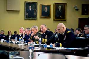 Chief of Naval Operations Adm. Jonathan W. Greenert, second from right, testifies with the Joint Chiefs of Staff on the affects of a continuing resolution and sequestration on military readiness before the defense subcommittee of the House Appropriations Committee in Washington, D.C., Feb. 26, 2013. U.S. Navy photo by Petty Officer 1st Class Peter D. Lawlor