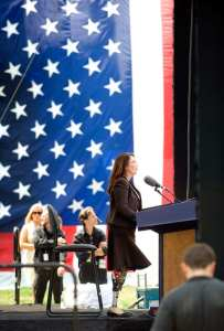 Then-Assistant Secretary for Intergovernmental and Public Affairs Tammy Duckworth addresses the audience during the National Intrepid Center of Excellence dedication ceremony at the National Naval Medical Center in Bethesda, Md., June 24, 2010. Duckworth is now U.S. Representative for Illinois' 8th Congressional District. She was severely wounded in combat in Iraq, losing both her legs and suffering serious injury to her right arm. Duckworth is a living example of the dangers female veterans already are facing. DoD photo by Cherie Cullen