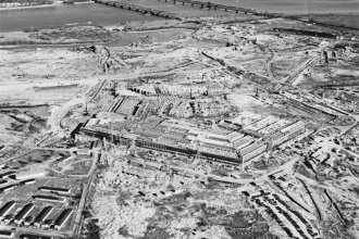 The War Department Office building, better known as the Pentagon, Arlington, Va., shown under construction, Jan. 17, 1942. The building was completed in just 16 months. U.S. Army Air Force Combat Command, Bolling Field, D.C. Image from Office of the Secretary of Defense History Office, Box 1313