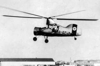 The Flettner Fl 265 was an experimental helicopter designed by Anton Flettner. It was the first helicopter to have the capability to transition from powered rotary flight to autorotation and back again. Bundesarchive photo