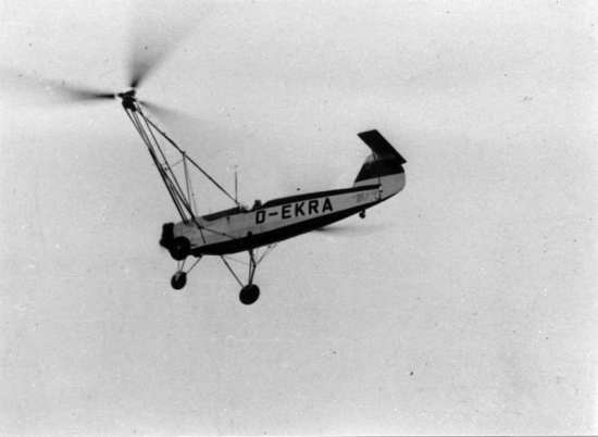 The Focke-Achgelis Fa 61 setting an altitude record of 3,427 meters on Jan. 29, 1939. The Fa 61 set numerous early world records for rotary-wing aircraft. EADS Heritage photo