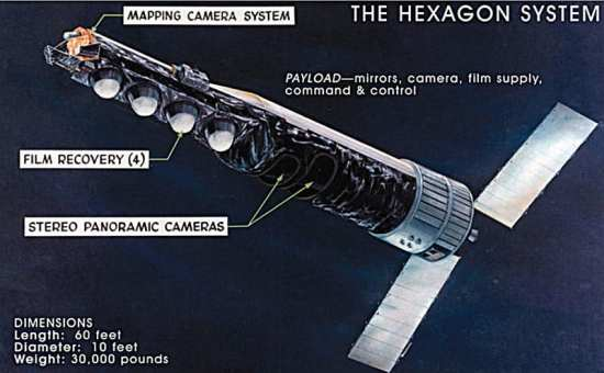 Basic elements of the HEXAGON KH-9 photo reconnaissance satellite, with mapping camera. Photo courtesy of the National Reconnaissance Office