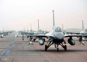F-16 Fighting Falcons from the 35th and 80th Fighter Squadrons of the 8th Fighter Wing, Kunsan Air Base, Republic of Korea; the 4th Fighter Squadron of the 388th Expeditionary Fighter Wing at Hill Air Force Base, Utah; and the 38th Fighter Group of the ROK Air Force demonstrate an 'Elephant Walk' as they taxi down the flightline at Kunsan Air Base, Republic of Korea, Dec. 14, 2012. The Elephant Walk was a demonstration of U.S. and ROK air force capabilities and strength. U.S. Air Force photo by Staff Sgt. Jonathan Fowler