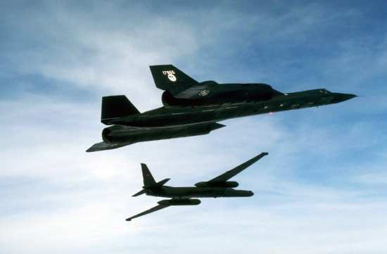 Lockheed Martin U-2 and SR-71 in flight. Both were designed as the ultimate reconnaissance aircraft. Lockheed Martin photo