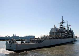 The guided-missile cruiser USS Monterey (CG 61) departs Naval Station Norfolk for a six-month independent deployment to the U.S. 6th Fleet area of responsibility, March 7, 2011. Monterey provided the first ballistic missile defense under the European Phased Adaptive Approach. U.S. Navy photo by Mass Communication Specialist 3rd Class Kayla Jo Guthrie