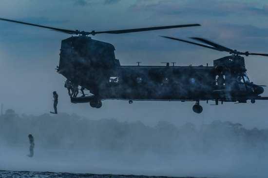 MH-47 Chinook jump