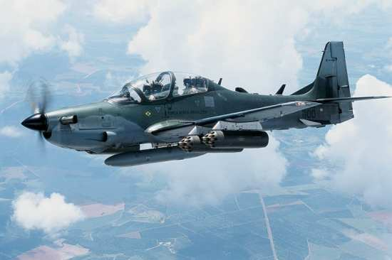 A Super Tucano in flight. The LAS competition between the A-29 and AT-6 Texan II has been hard fought and sometimes bitter. SNC photo