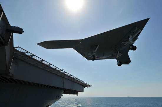 X-47B unmanned combat air system (ucas) demonstrator takeoff