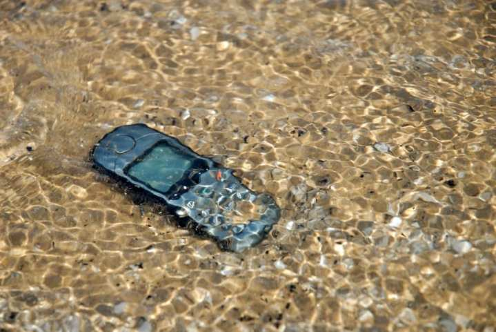 Mobile phone under water