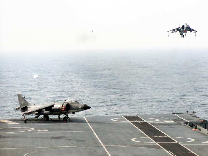 Sea Harriers (T Mk 60 and FRS 51s) recovering aboard the Viraat. Indian Navy photo