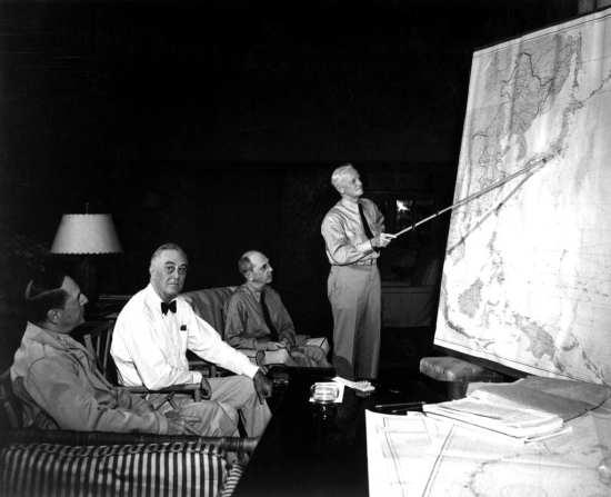 Gen. Douglas MacArthur, President Franklin D. Roosevelt, and Adm. Chester Nimitz