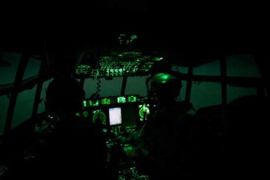 RAF Hercules air drop cockpit