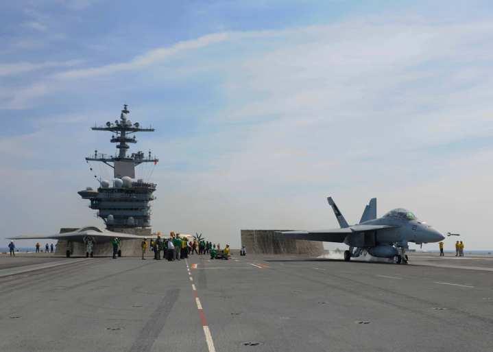 X-47B and Super Hornet