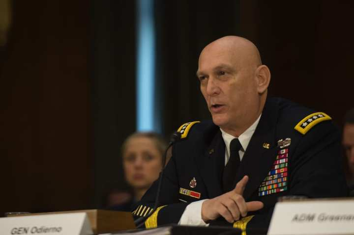 Chief of Staff of the Army Gen. Raymond T. Odierno speaks about the Army of 2016 during his congressional testimony on Capitol Hill in Washington, D.C., Jan. 28, 2015. He testified in front of the Senate Armed Services Committee about the military and the effects of sequestration should it return in 2016. U.S. Army photo by Staff Sgt. Mikki L. Sprenkle