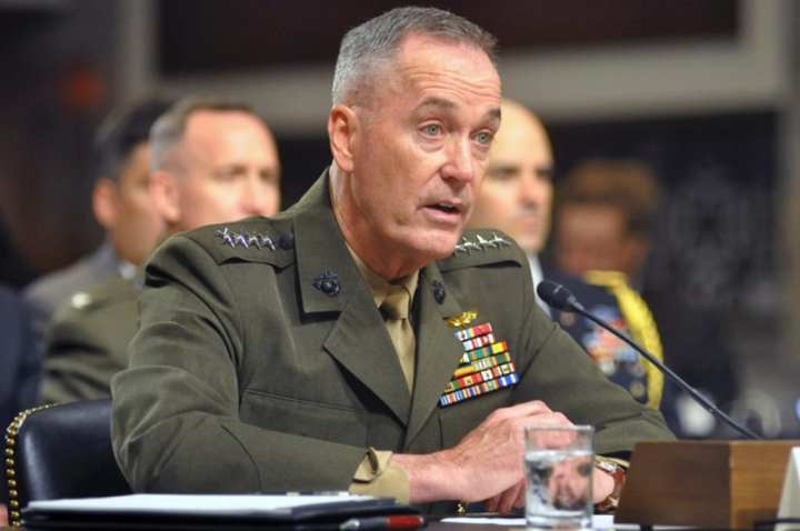 Marine Corps Commandant Gen. Joseph F. Dunford, Jr., testifies during a U.S. Senate hearing on Capitol Hill on July 17, 2014. Dunford spoke Jan. 28, 2015, before the Senate Armed Services Committee about the possible effects of another round of sequestration. Carlos Bongioanni, Stars and Stripes photo