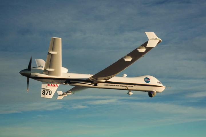 NASA's Armstrong Flight Research Center operates the agency's MQ-9 Predator B, named Ikhana, as a science and aeronautics platform. A proof-of-concept sense-and-avoid system was recently demonstrated aboard Ikhana, necessary for the UAS in the NAS project. NASA image by Carla Thomas