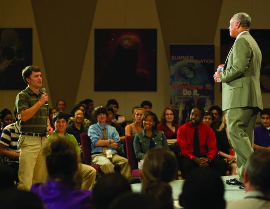 NASA Administrator Charles Bolden answers questions at a town hall meeting at Goddard Space Flight Center to talk with NASA interns, fellows, and scholars about the importance of continued interest in science, technology, engineering, and mathematics (STEM) careers. NASA photo