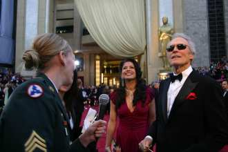 Former soldier and award nominee Clint Eastwood expresses his thanks to the men and women of the armed forces before the 79th Academy Awards at the Kodak Theatre in Los Angeles, Feb. 25. U.S. Army photo