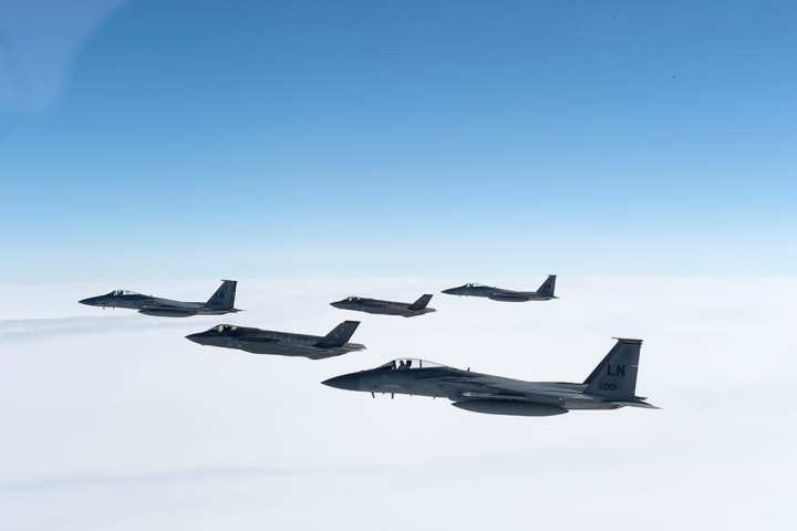 f-35as and f-15s