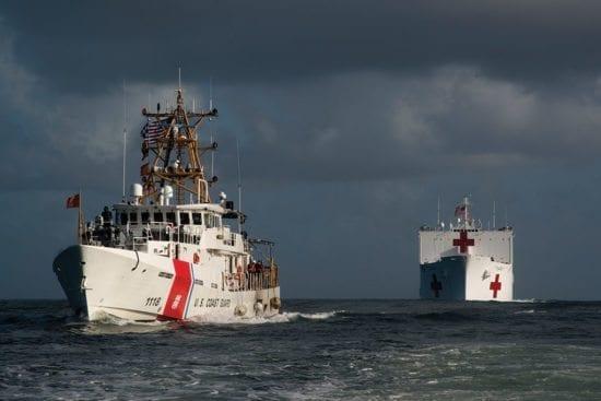 hurricane hospital ship USCG-escort