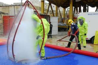 A Bulgarian sailor participates in a decontamination procedure and equipment demonstration during hazardous material response training as part of Eurasia Partnership Capstone (EPC) 2010 in Marsa, Malta, Nov. 17, 2010. EPC is an annual maritime conference with representatives from Azerbaijan, Bulgaria, Estonia, Georgia, Greece, Israel, Latvia, Lithuania, Malta, Poland, Romania, Turkmenistan, Ukraine and the United States working together in non-formal environments, such as seminars and workshops, with the aim of increasing maritime safety and security. (DoD photo by Mass Communication Specialist 1st Class Jenniffer Rivera, U.S. Navy/Released)