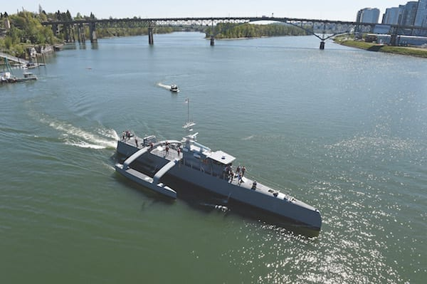 Sea Hunter, an entirely new class of unmanned ocean-going vessel gets underway on the Williammette River following a christening ceremony in Portland, Ore. Part the of the Defense Advanced Research Projects Agency (DARPA)'s Anti-Submarine Warfare Continuous Trail Unmanned Vessel (ACTUV) program, in conjunction with the Office of Naval Research (ONR), is working to fully test the capabilities of the vessel and several innovative payloads, with the goal of transitioning the technology to Navy operational use once fully proven. U.S. Navy photo