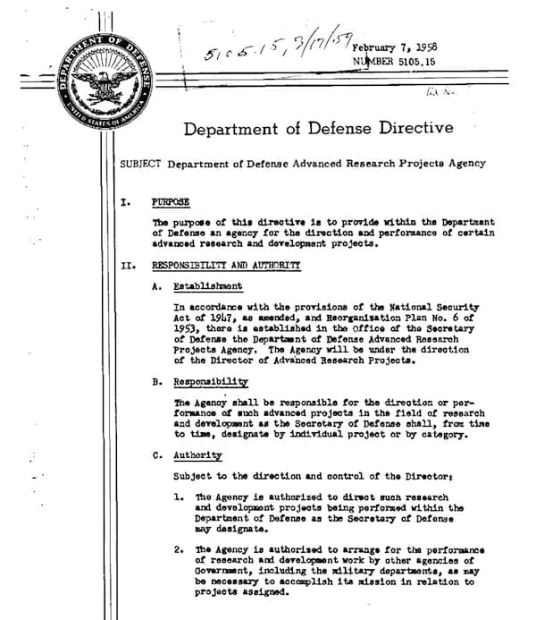 On Feb. 7, 1958, Defense Secretary Neil McElroy issued DOD Directive 5105.15 establishing the Advanced Research Projects Agency (ARPA), later renamed the Defense Advanced Research Projects Agency (DARPA). The agency's first three primary research thrusts focused on space technology, ballistic missile defense, and detection of nuclear weapons tests. (DARPA IMAGE)