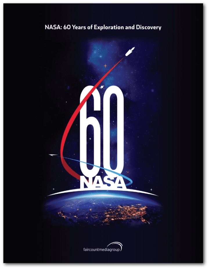 The cover of NASA: 60 Years of Exploration and Discovery features an official NASA logo created by NASA graphic artist Mathew Skeins in celebration of NASA's 60th anniversary.