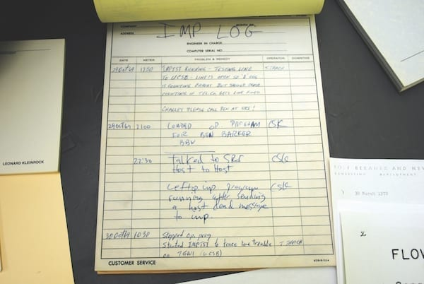 """The log entry for the IMP (Interface Message Processor) at UCLA, recording the first ARPANET message. It was sent on Oct. 29, 1969, at 22:30 Pacific Time from Boelter Hall 3420. (ANDREW """"FASTLIZARD4"""" ADAMS VIA FLICKR)"""