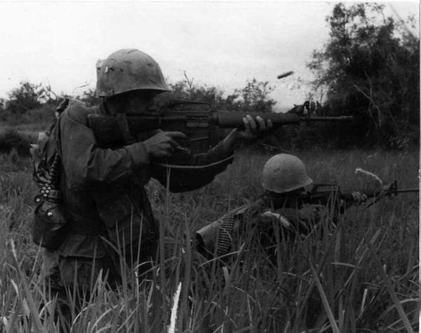 Pfc. Michael J. Mendoza fires his M16 rifle into a suspected Viet Cong occupied area on Sept. 8, 1967. Among the sub-projects of Project AGILE was development of the M16 rifle, which still serves the U.S. armed forces today. (U.S. ARMY PHOTO)