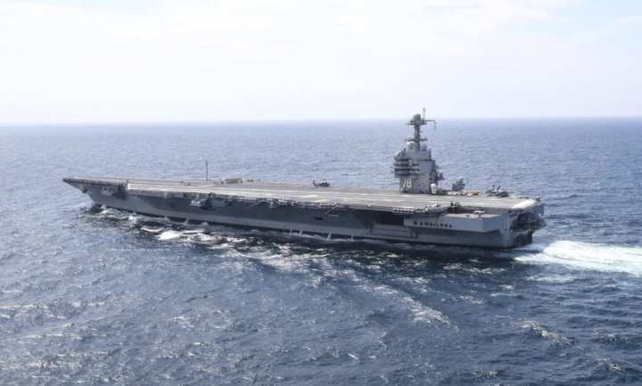 Official U.S. Navy file photo of the first-in-class USS Gerald R. Ford (CVN 78). (U.S. Navy photo by Mass Communication Specialist 2nd Class Ryan Litzenberger/Released)