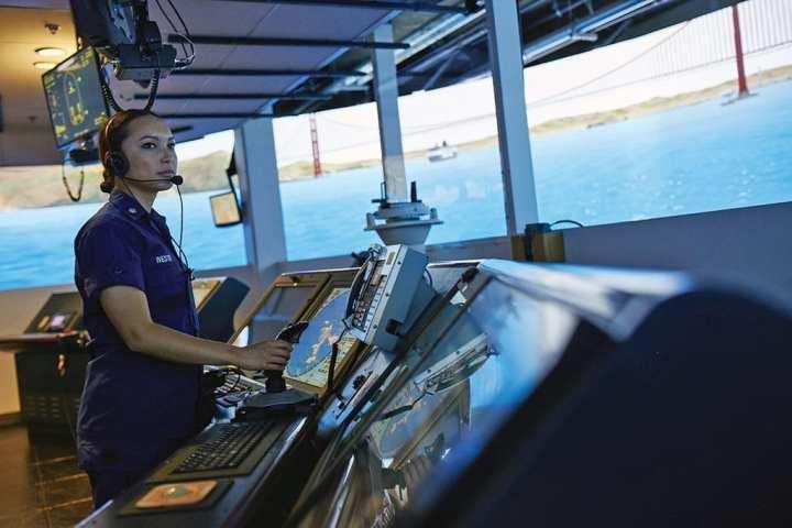 The Full Mission Bridge Simulator (FMBS) at work at TRACEN Petaluma, California.