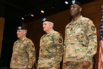 (Left to right) Commanding General Army Materiel Command Gen. Gustave F. Perna, Commanding General Army Futures Command Gen. John M. Murray and Commanding General Combat Capabilities Development Command Maj. Gen. Cedric T. Wins during a Transition of Authority ceremony Jan. 31 at Aberdeen Proving Ground, Md. Photo Credit: Conrad Johnson