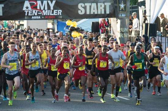 Runners in the 30th Army Ten-Miler race take off from the starting line on Oct. 12, 2014. The Army Ten-Miler takes place every October, and starts and ends at the Pentagon. U.S. Army Photo by Staff Sgt. Mikki L. Sprenkle