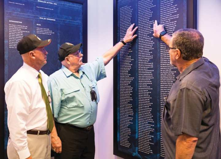 Vietnam veterans Bill Norman, Ray Hildreth, and Joe Kosoglow, 1st Reconnaissance Battalion, 1st Platoon, Charlie Company, visit the Hall of Heroes at the Pentagon, Washington D.C., Aug. 22, 2017. The veterans were visiting the National Capital Region in honor of the 50-year anniversary of the presentation of the Medal of Honor to Gunnery Sgt. Jimmie Howard for actions at the battle of Hill 488 during the Vietnam War. U.S. Marine Corps photo by Lance Cpl. Shannon Doherty