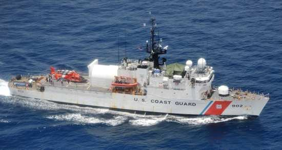 Pictured is the Coast Guard Tampa (WMEC-902) underway in the Eastern Pacific Ocean, Feb. 24, 2019. The cutter Tampa is a 270-foot medium endurance cutter homeported in Portsmouth, Virginia. (Coast Guard Photo)