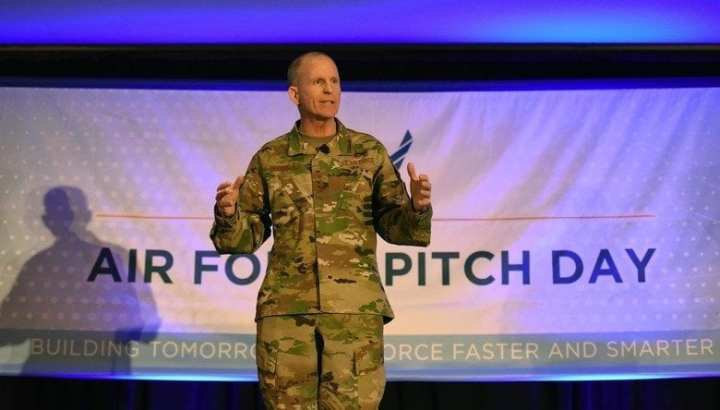 Air Force Vice Chief of Staff Gen. Stephen W. Wilson speaks to a crowd of small businesses, venture capitalists, and Airmen during the Inaugural Air Force Pitch Day in Manhattan, New York, March 7, 2019. Air Force Pitch Day is designed as a fast-track program to put companies on one-page contracts and same-day awards with the swipe of a government credit card. The Air Force is partnering with small businesses to help further national security in air, space and cyberspace. (U.S. Air Force photo by Tech Sgt. Anthony Nelson Jr.)