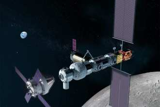 In this illustration, NASA's Orion spacecraft approaches the Gateway in lunar orbit. NASA image